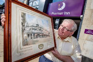 Former Co-op manager Mike Harrington outside the town's new Premier Inn.