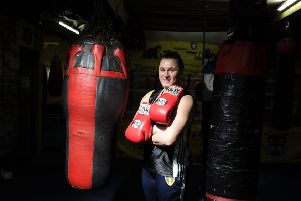 Ttitle hopeful: Former rugby league player turned boxer Jodie Wilkinson at Tigers Gym in Leeds. Picture: Tony Johnson