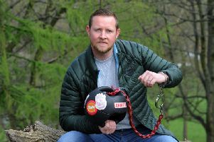 Army veteran Christian Kisby a Yorkshire Regiment veteran who is spending a week with a 15kg weighted ball handcuffed to his wrist in a bid to raise awareness of PTSD in soldiers
