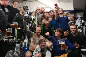 Hull Pirates' players celebrate in their locker room on Sunday night in Coventry. Picture courtesy of Hull Pirates/Jonathan Kirk.