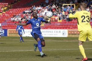 Picture Stuart Boulton/AHPIX LTD, Football, National League, Gateshead v Chesterfield, Gateshead International Stadium, 19/04/19, K.O 3pm''Chesterfield's Marc Antoine Fortune chaces down a through ball 'Howard Roe>>>>>>07973739229