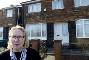 June Jones outside off the Bexhill road home of her mother Eleanor. Picture by FRANK REID