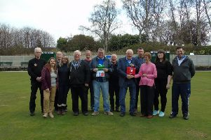 Members of the bowls club with Councillor Dave Allen and representatives from JJG Training and the Bowmen of Chesterfield