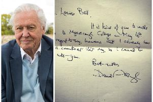 Letter from Sir David Attenborough to Myerscough College (Penny Dixie/2020Vision)