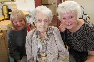 Nora with nieces Sue Heywood (left) and Angela Bacon.
