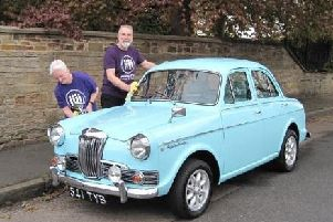 David Pipes and Gael Hepburn with trusty 1963 Riley, 'Blue Riley'.