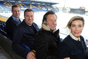 Mansfield Town owner, John Radford, with manager David Flitcroft, chief executive Carolyn Radford and assistant manager Ben Futcher.