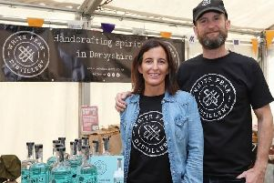 Max and Claire Vaughan of White Peak Distillery, Ambergate, exhibiting in the Inspired by the Peak District & Derbyshire Marketplace last year. Photo by Andrew Eyley.