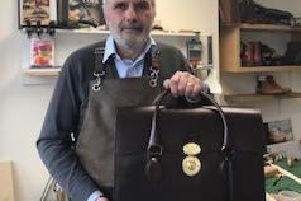 Owner of Ingmans, Andrew Ingman, with the 'world class' briefcase priced 3,995.