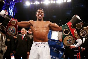 Anthony Joshua celebrates defeating Alexander Povetkin by Knockout at Wembley Stadium, London. PRESS ASSOCIATION Photo. Picture date: Saturday September 22, 2018. See PA story BOXING London. Photo credit should read: Nick Potts/PA Wire