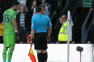 Match referee Craig Pawson consults his assistant during the EFL Championship Play-off 1st Leg game between Derby County & Leeds United FC @ Pride Park Stadium Derby 11-05-19 Image Jez Tighe