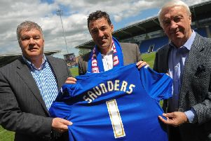 Chris Turner, then CEO, and owner Dave Allen unveiled Dean Saunders as boss on this day four years ago