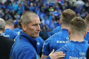 Leinster senior coach, Stuart Lancaster commiserates with his players after their defeat to Saracens in the Champions Cup Finalon Saturday. Picture: David Rogers/Getty Images.