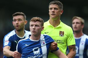 Dion Donohue in action as a Spireite before his Pompey move