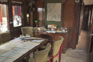 A 99-year old railway carriage that may have been part of Winston Churchill's top secret 'D-Day planning' train is on display to commemorate the 75th anniversary of D-Day this year. The historic carriage is preserved at the Princess Royal Class Locomotive Trust's West Shed Museum - often described by visitors as a 'hidden gem' - at the Midland Railway-Butterley near Ripley in Derbyshire.