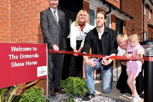 Andrew Handslip, sales manager, Lorret Cook, sales executive, Phill Martin, actor and Sharon Pugh, who purchased at The Riddings with her daughter Alice