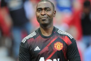 Treble-winner Andy Cole during a recent Manchester United legends match.