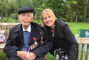 Joe Wilson received the Legion d'Honneur at the National Memorial Arboretum where he was pictured with his daughter Jenny