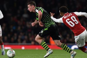 Liam Mandeville in action for Rovers against Arsenal