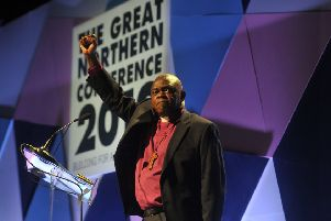 26 February 2019 ......   Dr John Sentamu, Archbishop of York speaking at The Great Northern Conference 2019 at New Dock, Royal Armouries in Leeds. Picture Tony Johnson.