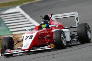 Debutant Nicolas Varrone in action at Silverstone for the Hillspeed F3 team. (PHOTO BY: Jakob Ebrey Photography)