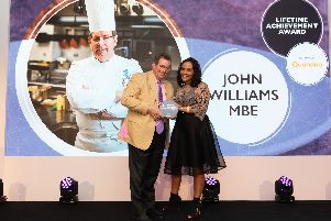 John Williams collecting his Lifetime Achievement Award at the National Restaurant Awards