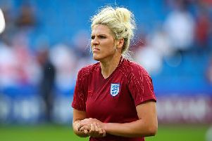 LE HAVRE, FRANCE - JUNE 14: Millie Bright of England during the pre-match warm-up ahead of the 2019 FIFA Women's World Cup France group D match between England and Argentina at  on June 14, 2019 in Le Havre, France. (Photo by Craig Mercer/MB Media/Getty Images)