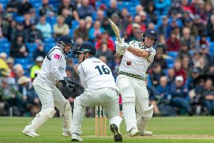 Gary Ballance pulls a delivery from Jeetan Patel through mid-wicket at Clifton Park, York.' Picture: Bruce Rollinson