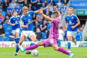 Chesterfield's midfielder Charlie Wakefield (16) cuts outside Grimsby Town's defender Zak Mills (12).''Picture by Stephen Buckley/AHPIX.com. Football, League 2, Chesterfield v Grimsby Town; 05/08/2017 KO 3.00pm 'Proact; copyright picture; Howard Roe; 07973 739229