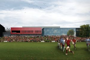 The Western elevation perspective of Lancaster University's new �6m sports hall.