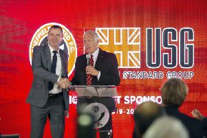 Kevin McCabe and CEO of USG Shay Zakhaim at a press conference at Bramall Lane to reveal USG as Sheffield United's new front of shirt sponsor. Picture Scott Merrylees