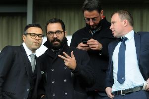 Leeds United owner Andrea Radrizzani (L), Victor Orta (M) and Angus Kinner (R).