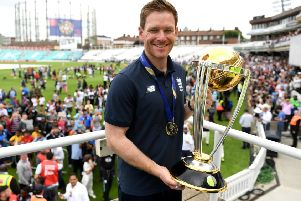 England captain Eoin Morgan parades the World Cup trophy surrounded by fans during the England ICC World Cup Victory Celebration at The Kia Oval on July 15, 2019 in London, England. (Picture: Gareth Copley/Getty Images)