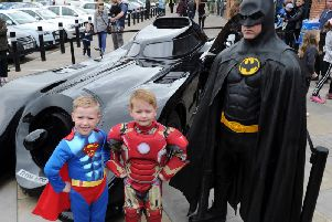 Holbert, six, and Harry Quinn, five, with Batman with the Batmobile (Photo: Steve Riding)