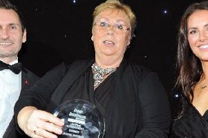 Jillian Thomas with her Lifetime Achievement Award at last year's Derbyshire Times Business Awards.