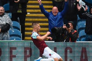 Johann Berg Gudmundsson celebrates making it 3-0