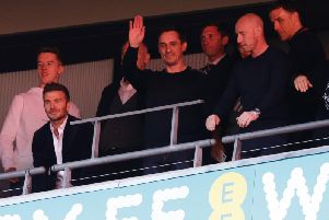 FAMILIAR FACES: Co-owners David Beckham, Gary Neville, Nicky Butt and Phil Neville in the stands during the Vanarama National League play-off final between Salford City and AFC Fylde at Wembley Stadium back in May. Photo by Henry Browne/Getty Images.
