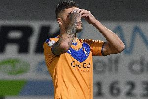 Picture: Andrew Roe/AHPIX LTD, Football, Carabao Cup First Round, Mansfield Town v Morecambe, One Call Stadium, Mansfield UK, 13/08/19, K.O 7.45pm''Mansfield's Ryan Sweeney after his penalty shoot out miss''Howard Roe>>>>>>>07973739229