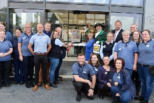 Official opening of Chatsworth Road Lidl. Store manager Kirsty Wilf, Mayor Councillor Gordon Simmons, Mayoress Kate Caulfield, town crier Michael Wood and MP Toby Perkins.