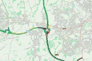 The crash is now causing tailbacks on the M58 eastbound carriageway.