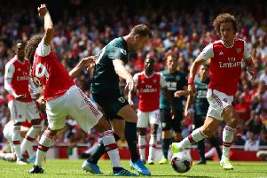 Burnley striker Ashley Barnes levels things up at the Emirates