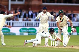 England's Rory Burns just fails to take a catch offered by Australia's Pat Cummins in the tourists' second innings at Lord's (Picture: Mike Egerton/PA Wire).
