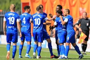 Picture Shibu Preman AHPIX LTD, Football, National League, Barnet v Chesterfield, The Hive Stadium, London, UK, 17/08/19, K.O 3pm''chesterfield's Mike Fondop goal celebration''Howard Roe>>>>>>>07973739229