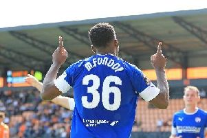 Mike Fondop scored two goals on his Chesterfield debut v Barnet on Saturday.''Copyright: Howard Roe/AHPIX LTD.