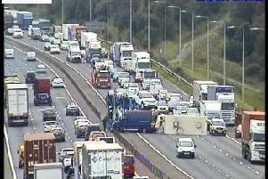 A caravan has flipped on the M62 causing traffic chaos (Photo: Highways England)