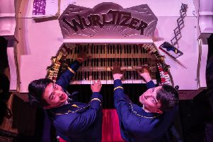 Simon Cheung and Daniel Greenway both 17, from The Blue Coat School in Liverpool, play the mighty Wurlitzer Organ at The Blackpool Tower Ballroom''Picture: Jason Roberts