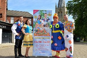 Pictured from left are Lee Latchford-Evans as Jack, Andrea Valls as Princess Jess, Simon Howe as Dame Trott and Paul Eastwood as Simon Trott. Pictures by Rachel Atkins.