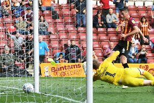 Bradford's Paudie O'Connor scores the winner. Picture Jonathan Gawthorpe