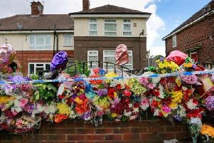 Floral tributes were left at the scene