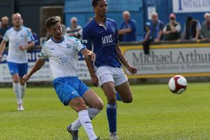 Marcus Marshall (right) in action against South Shields. Photo by Jez Tighe.